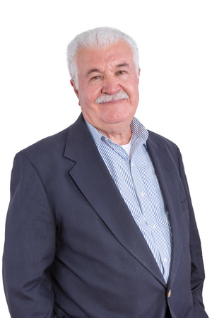 portly: Attractive smiling senior man with mustache and blue blazer without necktie over white background