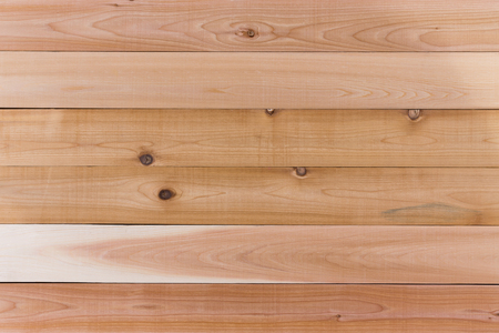 panelled: Cedar Wood Wall Background with Copy Space, Emphasizing Horizontal Orientation. Stock Photo