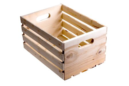 isolated on white: Single empty wood slatted crate used to carry fruit or vegetables over isolated white background