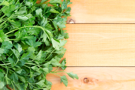 italy background: Newly washed fresh Italian parsley on a wooden table for use as a garnish in cooking and salads, overhead view