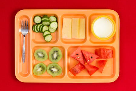 lunch tray: Top down perspective view on bright plastic child size lunch tray with fork, cucumber, cheese, kiwi, watermelon slices and little cup of milk