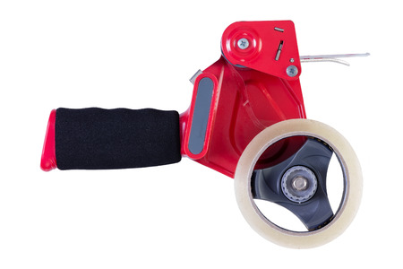 removals: Side view on single red and black heavy industrial duty loaded tape dispenser over isolated white background