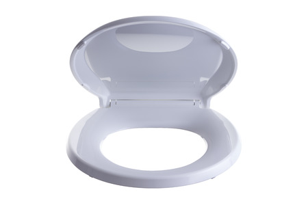 loose fitting: Partially opened isolated generic white plastic hinged toilet seat and lid viewed from the front