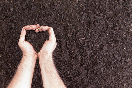 Pair of hands holding soil in heart shape over bare ground with copy space for concept about hobbies and the love of gardening Archivio Fotografico