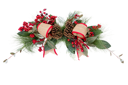 moños de navidad: Christmas wreath bows and pine cones over white isolated background for holiday yuletide objects