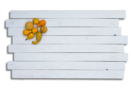staggered: Cute yellow ornamental pumpkin squashes on staggered white wooden panels with copy space over white