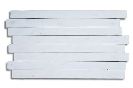 staggered: Staggered long flat white wooden planks with copy space for theme about homemade objects or food Stock Photo