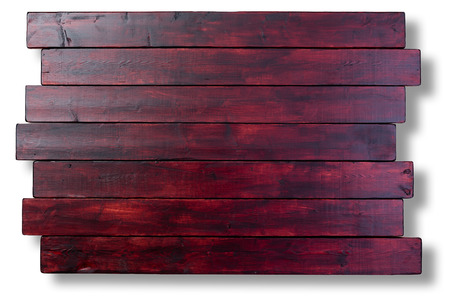 staggered: Mahogany stained staggered wooden boards background texture with copy space over a white background