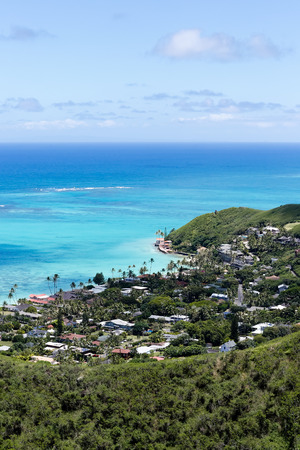 Another beautiful day at Wailea Point neighbourhood at Oahu, Hawaii shot from Kalwa Ridge Pillbox Hike. Stock Photo