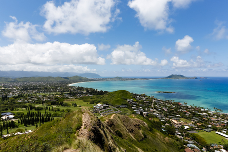 Horizontal view of Kailua and Marine Corps Base Hawaii in the distance, from Kalwa Ridge, Pillbox Hike. Stock Photo