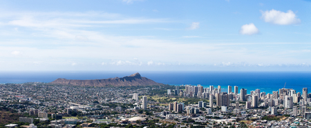 Aerial view of Diamond Head, Waikiki and University of Hawaii, Honolulu, Oahu, Hawaii in a wide angle panorama showing the topography of the surroundings