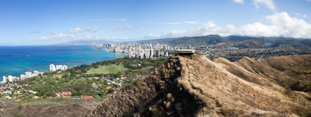 View of Waikiki Beach and the hills of Honolulu, Oahu, Hawaii in a panoramic landscape view with an azure Pacific Ocean under a sunny blue sky