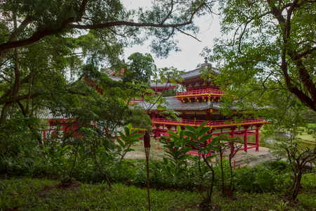 Byodo-In Buddhist Temple, Oahu, Hawaii, a non-denominational temple built to commemorate the centenary of the arrival of the first Japanese immigrants and open to all denominations for worship