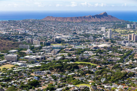 Aerial view of Honolulu with Diamond Head volcano, Oahu, USA