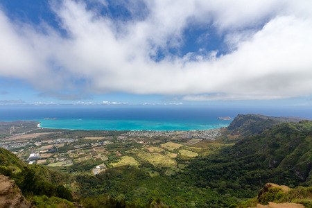 View from the Kiliouou Trail of Bellows Field and Waimanalo with an azure blue Pacific Ocean beyond on Oahu, Hawaii Stock Photo