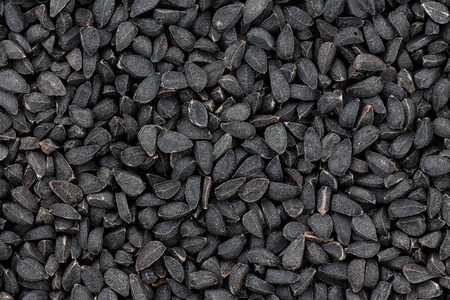 Close up texture of black seeds or nigella also known as kalonji, an ancient spice from India known for its pungent taste and medicinal qualities Imagens
