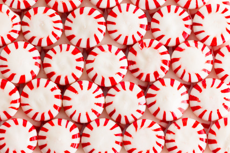 Colorful red and white mint or peppermint flavored starlight candies in a flat lay still life full frame background