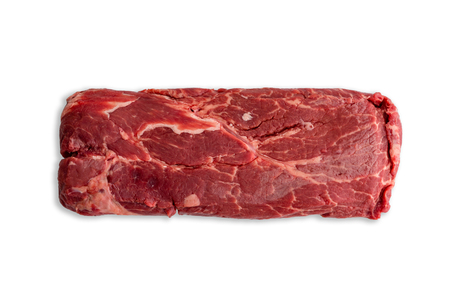 Single uncooked slab of marbled red meat centered over completely white background.