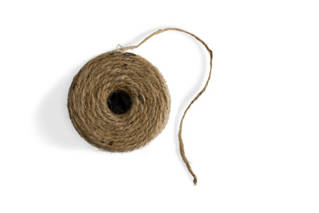 Top down view on a ball of jute twine