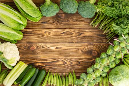 Frame of winter vegetables on market table