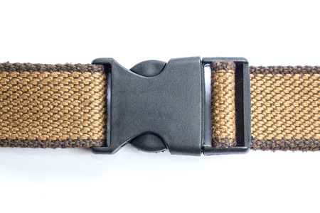 buckle: Plastic buckle on white background Stock Photo