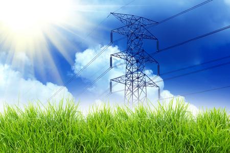 electricidad: hierba y la línea eléctrica con el fondo