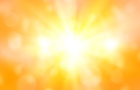 bokeh message: abstract orange background. bokeh abstract light background. Summer background with a magnificent sun burst with lens flare. Hot with space for your message Stock Photo