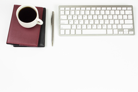 office space: office table with copy space, top view Stock Photo