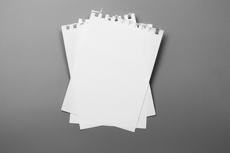 Blank portrait A4. brochure magazine isolated on gray, changeable background  white paper isolated on gray Stockfoto