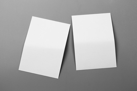 Blank portrait A4. brochure magazine isolated on gray, changeable background / white paper isolated on gray 写真素材