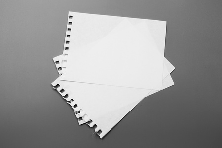 Blank portrait mock-up paper. brochure magazine isolated on gray, changeable background  white paper isolated on gray Stock Photo