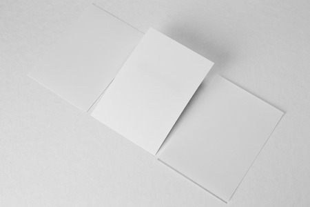 Blank portrait A4. brochure magazine isolated on gray, changeable background  white paper isolated on white wall.