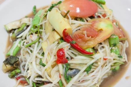 Papaya salad  Som Tum  is a local Thai food photo