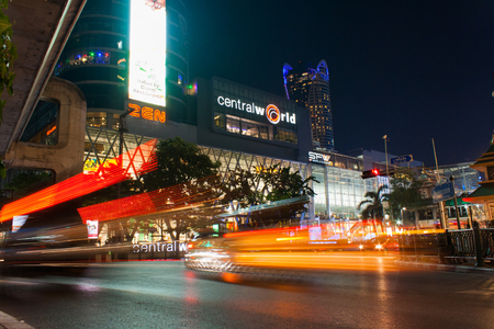 Bangkok,Thailand - April 04,2015: View of night traffic in front of Central World, one of the largest and busiest mall in Bangkok, Thailand Editorial