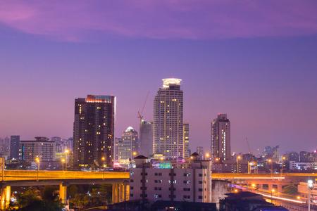 Bangkok, Thailand-April 21,2015: Bangkok in night scene with twilight background,Bangkok is capital of Thailand