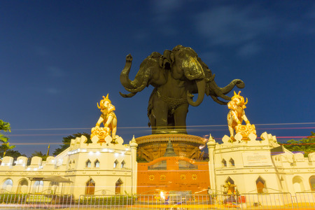SAMUT PRAKAN, THAILAND - 09 December 2017 : Erawan Museum is a Elephant head sculpture with 3 heads. It is one of the important and unique tourist attraction of Samut Prakan. Located on Sukhumvit Road intersection with Kanchanapisek Road