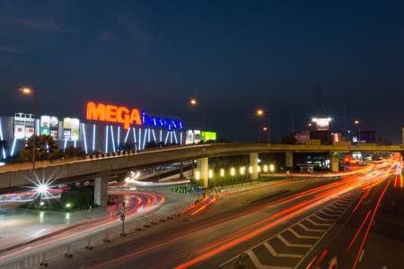 Samut Prakan,Thailand - Dec 10,2017: Mega Bangna is a large shopping mall in Bangkok. It is the fist horizontal shopping center in Asia with the area of 400,000 sq.m.Include Ikea, Robinson, Homepro, BigC and Major Cineplex