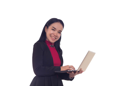Businesswomen use laptop to find information on working on white background.