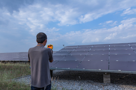 Thermoscan(thermal image camera), Industrial equipment used for checking the internal temperature of the machine for preventive maintenance, This is checking solar panel.