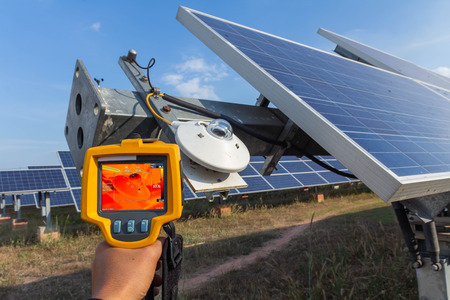 Thermoscan(thermal image camera), Industrial equipment used for checking the internal temperature of the machine for preventive maintenance, This is checking The pyranormeter for tracking sun of solar plant.