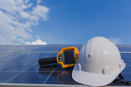 PPE and Equipment for maintenance solar systems. Stock Photo