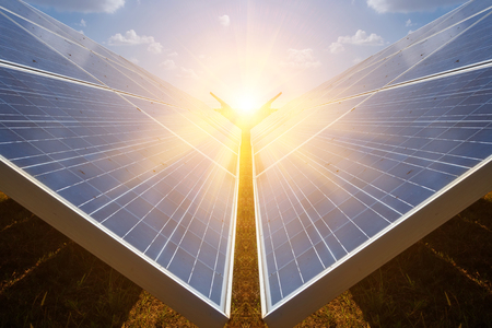 Solar panel, alternative electricity source - concept of sustainable resources, And this is a new system that can generate electricity more than the original, This's the sun tracking systems. Stock Photo