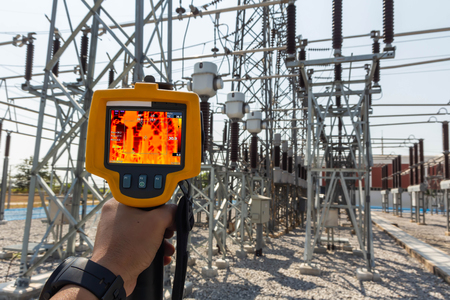 Thermoscan(thermal image camera), Industrial equipment used for checking the internal temperature of the machine for preventive maintenance, This is checking The Substation equipment.