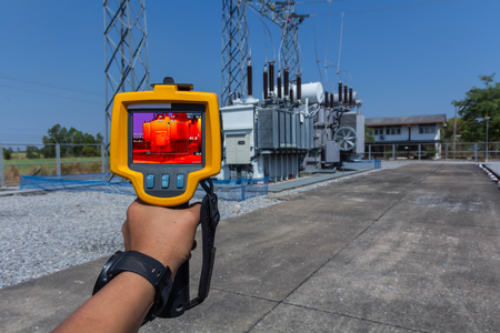 Thermoscan(thermal image camera), Industrial equipment used for checking the internal temperature of the machine for preventive maintenance, This is checking The Transformer.