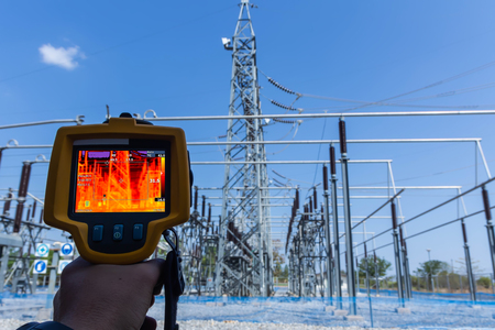 Thermoscan(thermal image camera), Industrial equipment used for checking the internal temperature of the machine for preventive maintenance, This is checking substation heat. Stock Photo