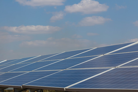 Solar panel, alternative electricity source - concept of sustainable resources, And this is a new system that can generate electricity more than the original, This's the sun tracking systems.