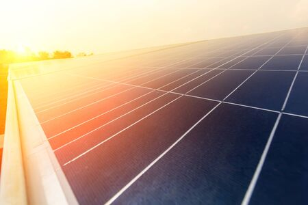 Solar panel, alternative electricity source, concept of sustainable resources, And this is a new system that can generate electricity more than the original, This's the sun tracking systems. Stock Photo