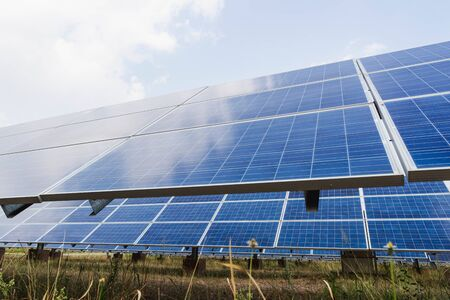 Solar panel, alternative electricity source, concept of sustainable resources, And this is a new system that can generate electricity more than the original., Intend make to Inclined horizon.