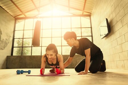 The girl exercised hard to good health and she want to have a slender body.