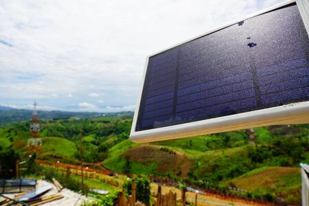 Mountain villages used solar cell to produce electricity for use with electric lamps. Banco de Imagens